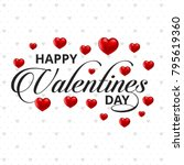 happy valentine's day card with ... | Shutterstock .eps vector #795619360