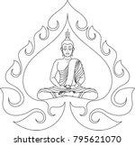 buddha meditation in swirl...   Shutterstock .eps vector #795621070