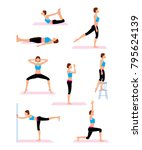 woman doing back and legs... | Shutterstock .eps vector #795624139