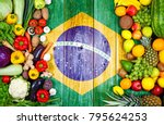 fresh fruits and vegetables... | Shutterstock . vector #795624253