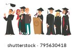 set of college graduates  boys... | Shutterstock .eps vector #795630418