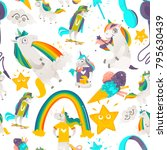 seamless pattern with funny... | Shutterstock .eps vector #795630439