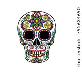 mexican sugar skull with floral ... | Shutterstock .eps vector #795634690