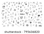 funny hand drawn doodle... | Shutterstock . vector #795636820