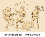 medieval juggler. vector... | Shutterstock .eps vector #795639496