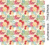 seamless flower pattern of roses | Shutterstock . vector #795639646