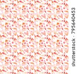 Stock photo a pattern of watercolor petals in warm tones 795640453