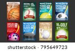 sport flyer set vector. golf ... | Shutterstock .eps vector #795649723