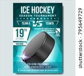 ice hockey poster vector.... | Shutterstock .eps vector #795649729
