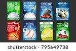 sport posters set vector. golf  ... | Shutterstock .eps vector #795649738