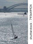 sailing yacht on shimmering... | Shutterstock . vector #795649924
