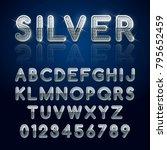 silver glossy alphabet letters...   Shutterstock .eps vector #795652459