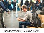 hipster man at international... | Shutterstock . vector #795653644