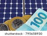 solar panel with 100 bill of...   Shutterstock . vector #795658930