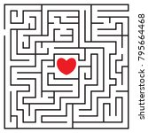 labyrinth with red heart and to ... | Shutterstock .eps vector #795664468