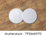 two round white coasters on... | Shutterstock . vector #795666970