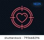 neon light. heart in target aim ... | Shutterstock .eps vector #795668296