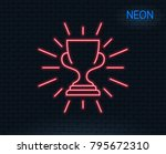 neon light. award cup line icon.... | Shutterstock .eps vector #795672310