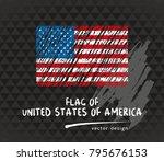 usa flag  vector sketch hand... | Shutterstock .eps vector #795676153