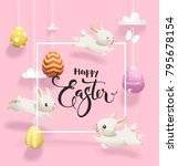easter eggs hanging on threads  ... | Shutterstock .eps vector #795678154