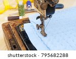 old retro sewing machine and... | Shutterstock . vector #795682288