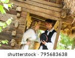 young couple dressed in... | Shutterstock . vector #795683638