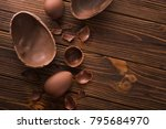 easter tasty chocolate egg on a ... | Shutterstock . vector #795684970