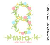 cute floral banner in cartoon... | Shutterstock .eps vector #795685048