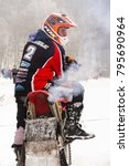 Small photo of KLASTEREC NAD ORLICI, CZECH REPUBLIC - JANUARY 29: Motorcycle skijoring racers prepare for ride on January 29, 2017 in Klasterec nad Orlici, Czech republic.