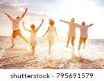 group of five happy peoples run ... | Shutterstock . vector #795691579