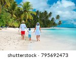 family with child walking on... | Shutterstock . vector #795692473