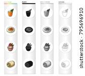 juice  vegetarian mushroom roll ...   Shutterstock .eps vector #795696910