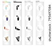 hand with a light bulb ... | Shutterstock .eps vector #795697084