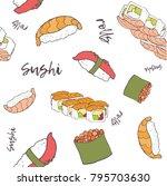 "hand drawn pattern ""sushi"" | Shutterstock .eps vector #795703630"