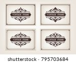 set of vintage frames with... | Shutterstock .eps vector #795703684