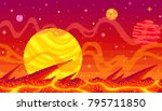 pixel art game location. cosmic ... | Shutterstock .eps vector #795711850