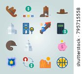 icon set about united states.... | Shutterstock .eps vector #795715558