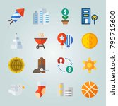 icon set about united states.... | Shutterstock .eps vector #795715600