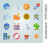 icon set about united states.... | Shutterstock .eps vector #795715624