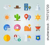 icon set about united states.... | Shutterstock .eps vector #795715720