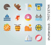 icon set about united states.... | Shutterstock .eps vector #795715744