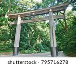 Small photo of Big Torii Gate with a magical power , Meiji Shrine, Tokyo