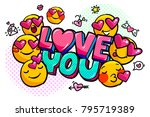love you word bubble. message... | Shutterstock .eps vector #795719389