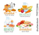 breakfast banners template food ... | Shutterstock .eps vector #795721846
