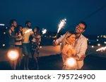 group of happy friends... | Shutterstock . vector #795724900