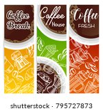 vector coffee banners with... | Shutterstock .eps vector #795727873