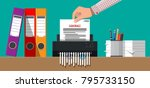 hand putting contract paper in... | Shutterstock .eps vector #795733150