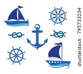 a set of icons of a yacht  a... | Shutterstock .eps vector #795733234