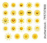 smiling sun emoticons. vector... | Shutterstock .eps vector #795737800