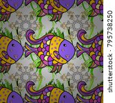 fishes on gray  violet and... | Shutterstock .eps vector #795738250